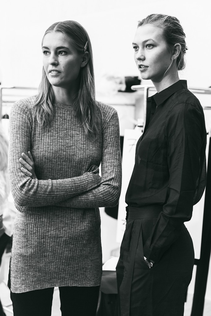 Karlie Kloss And Nadja Bender Backstage Mugler SS15
