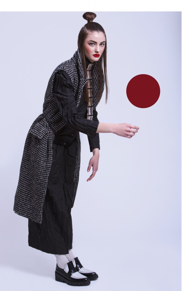 Ana Alexe Coat and Moogu Necklace, all available Molecule-F Knitted Vest: Prescription Shoes, Hobirama.