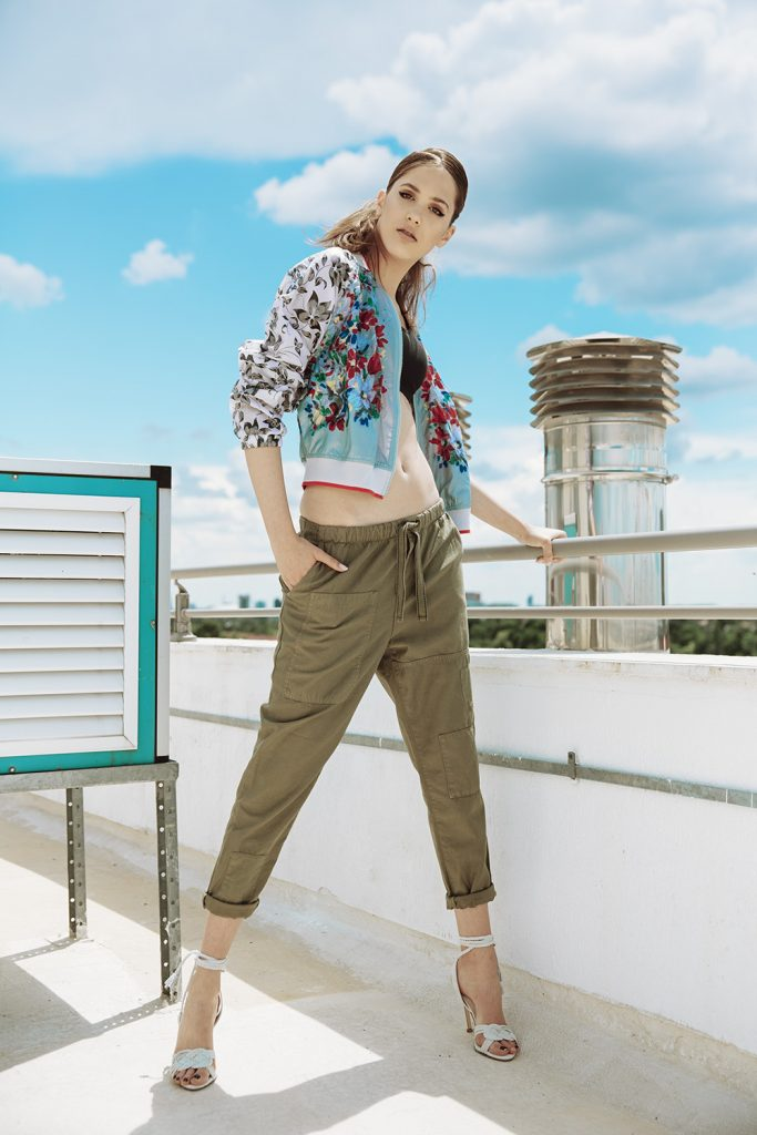 Sports Bra - OYSHO, Bomber Jacket - Adidas by Stella Mc Cartney from SPORT COUTURE, Trousers - ZARA, Sandals - ZARA
